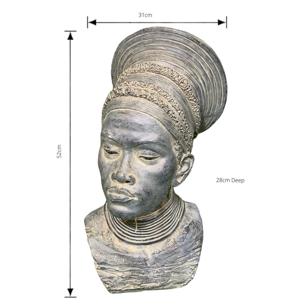 Statue - African Lady Head 1 Bust Sculpture with dimensions