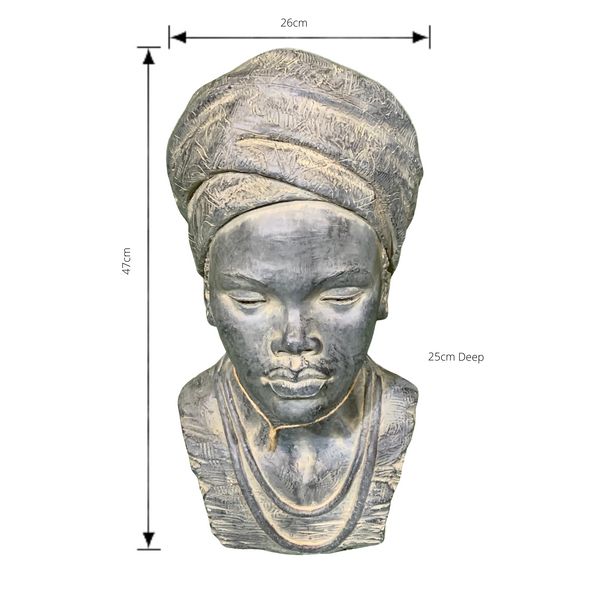 Statue - African Lady Head 2 Bust Sculpture with dimensions