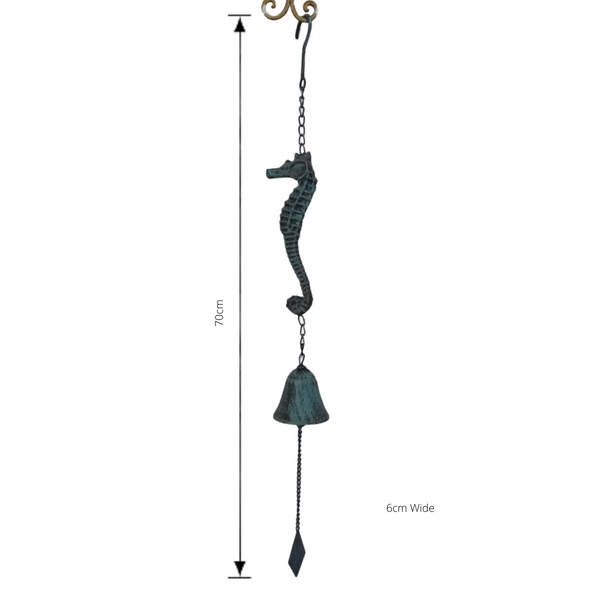 Seahorse bell with dimensions