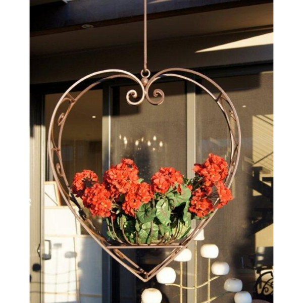 Wrought Iron Hanging Heart Pot Plant Candle Holder - Large
