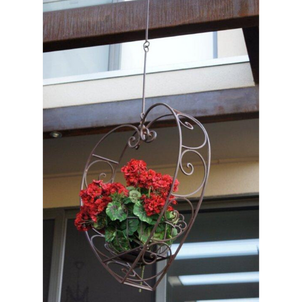 Hanging Heart Pot Plant, Candle Holder, Wrought Iron