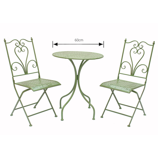 Patio Setting 3 Piece Lazio Metal Green Brush