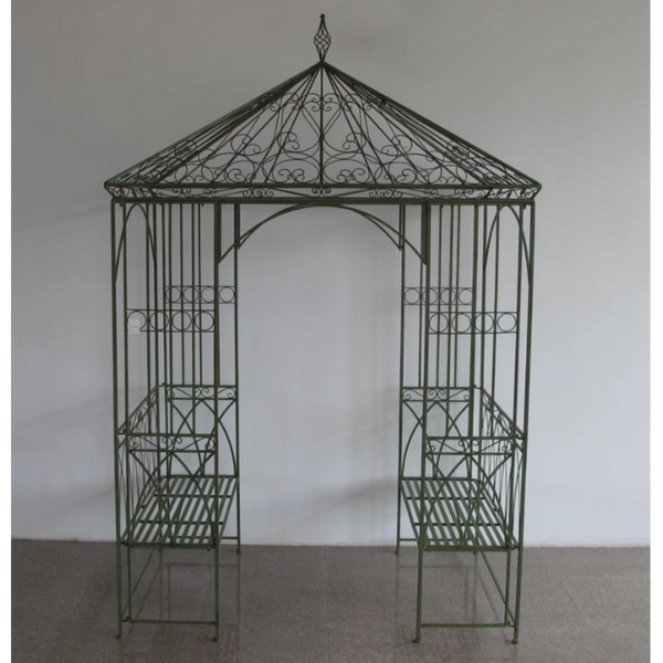 Outdoor Garden arch, Arbour or Gazebo with bench seats, Square with pitched roof. Made from metal in antique green, rusty finish