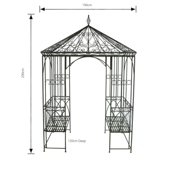 Outdoor Garden arch, Arbour or Gazebo with bench seats, Square with pitched roof. Made from metal in antique green, rusty finish. Pictured with dimensions