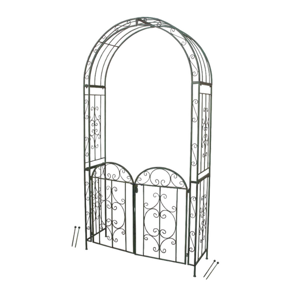 Arch with gate in antique green
