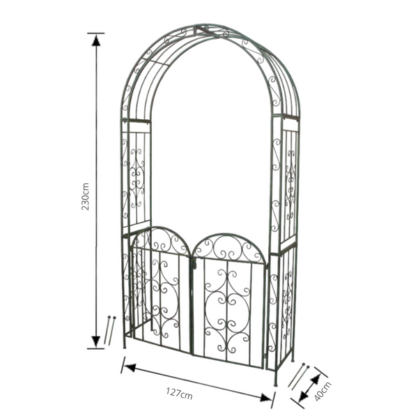 Arch With Gate Metal Steel Antique Green Metal Wedding Garden Climbing Frame Arbour Trellis Pergola  150X40X230cm High