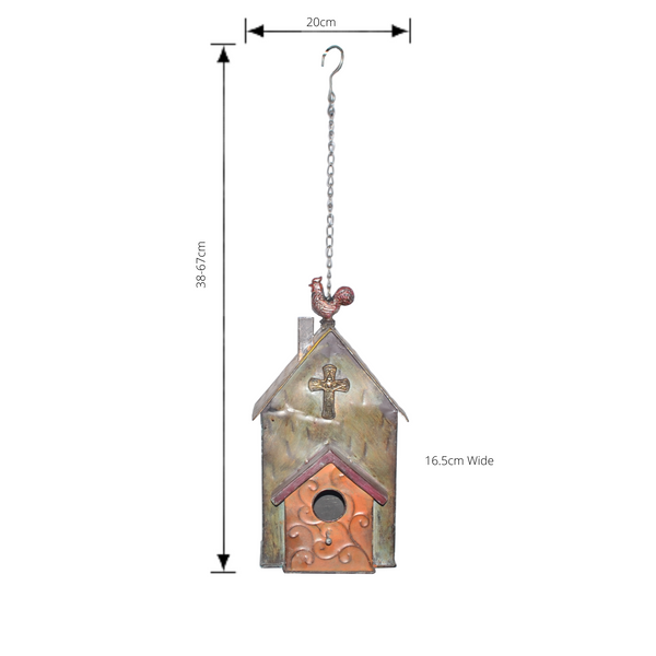 Hanging Metal Bird House with Rooster feature