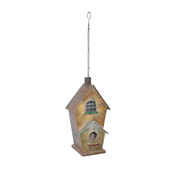 Hanging Metal Bird House with Window feature