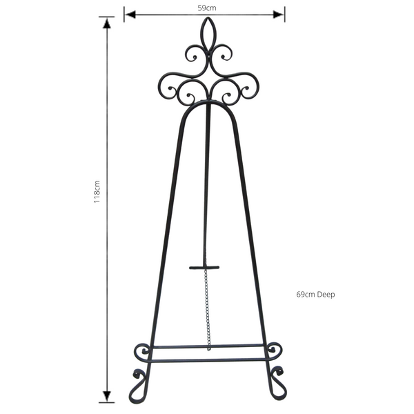Decorative Easel Metal Stand, Display Painting Tripod  with measurements