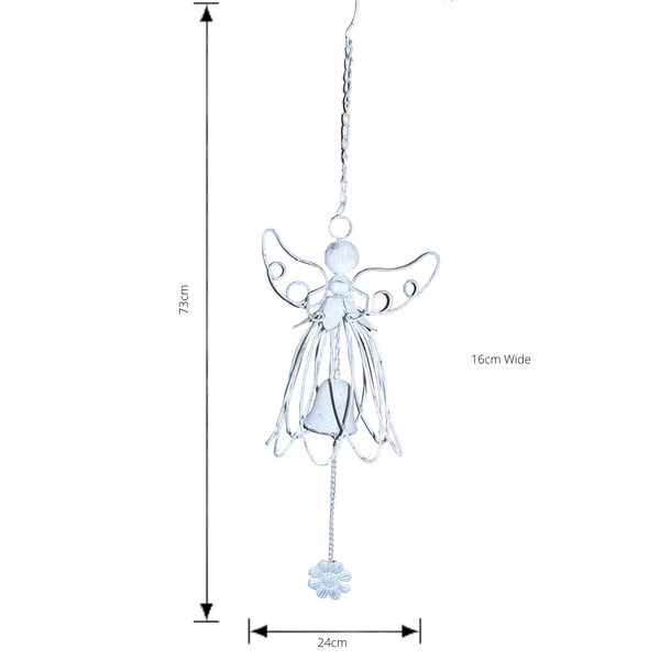 Hanging Angel Bell with wings up shown with dimensions