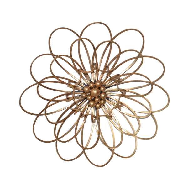 Wall Decor Flower Metal Antique Gold