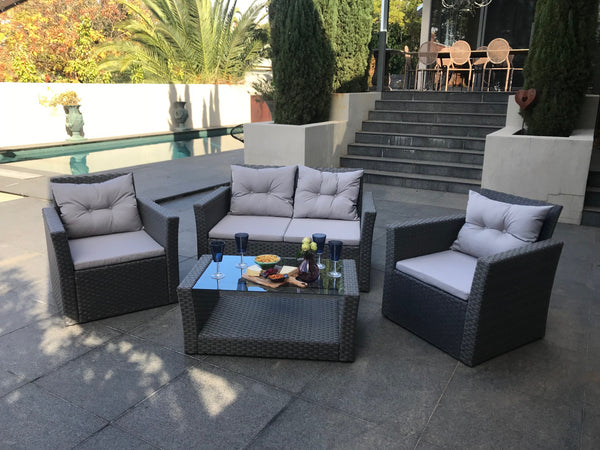 Lagos 4 Piece Polyethylene Outdoor Lounge Setting