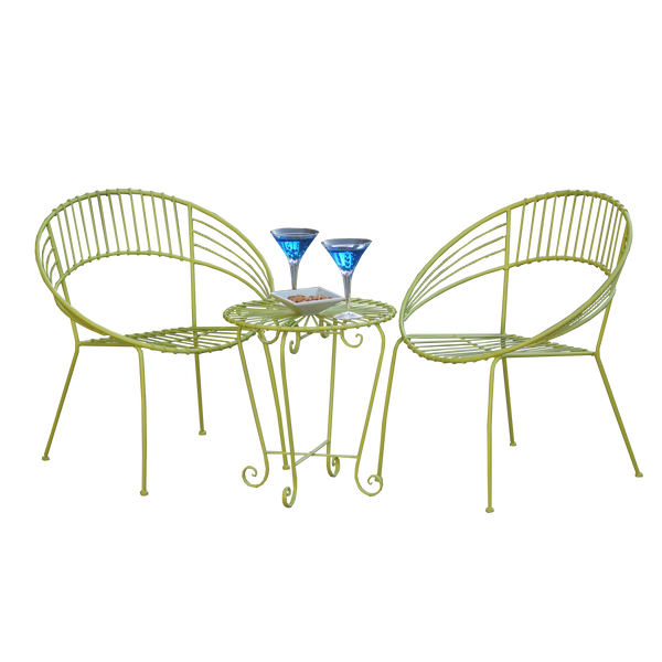 Outdoor Patio Setting- May, 2 chairs and table in lime metal