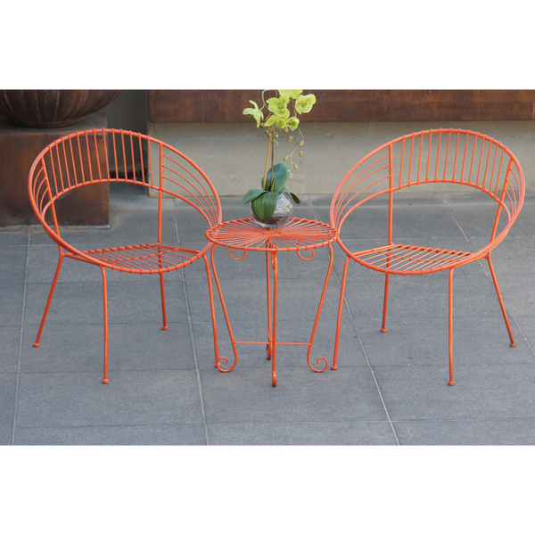 Outdoor Patio Setting- May, 2 chairs and table, painted metal in orange,  pictured in courtyard