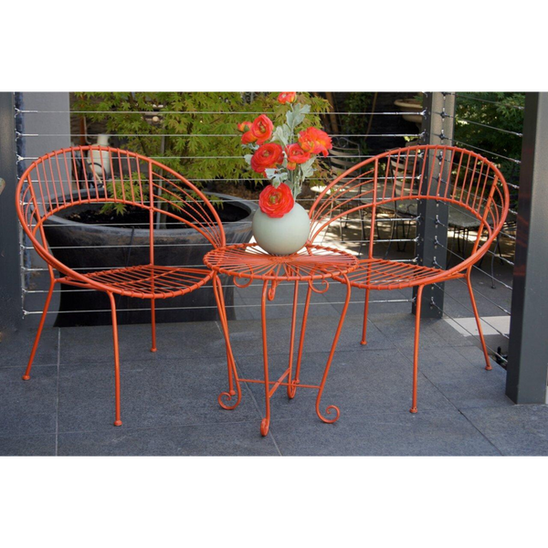 Outdoor Patio Setting- May, 2 chairs and table, painted metal in orange, pictured on balcony