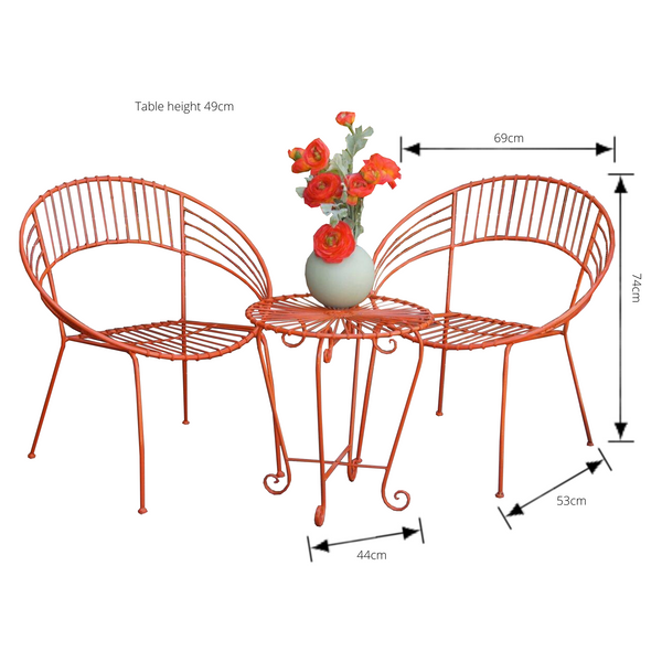 Outdoor Patio Setting- May, 2 chairs and table, painted metal in orange, pictured with dimensions