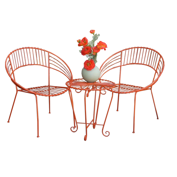 Outdoor Patio Setting- May, 2 chairs and table, painted metal in orange,