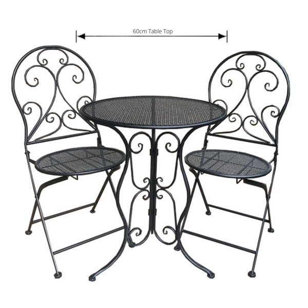 Patio Setting - Mia, Black 3 Piece Metal Garden Setting with dimensions