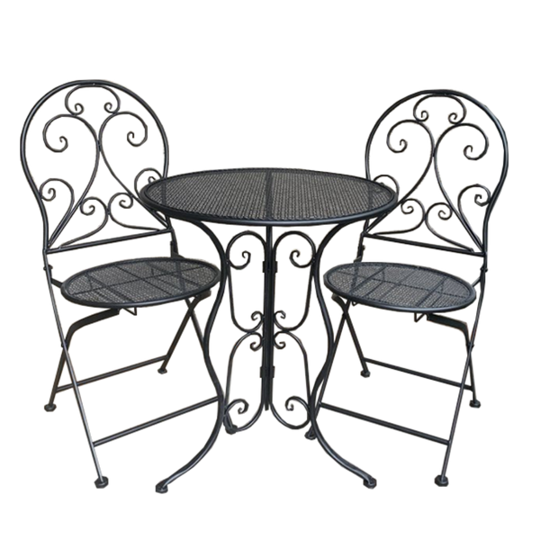 Patio Setting - Mia, Black 3 Piece Metal Garden Setting
