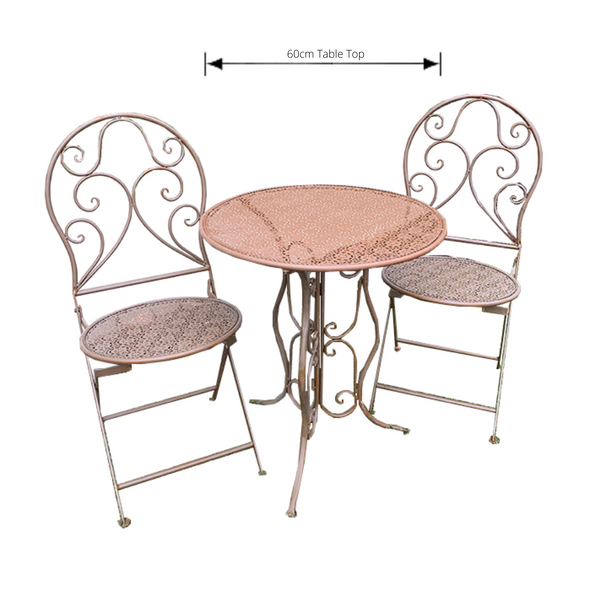 Patio Setting - Mia, Rust 3 Piece Metal Garden Setting with dimensions