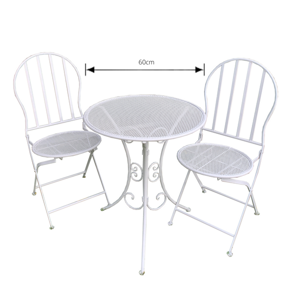Patio Setting Mia 3 Piece Bistro Balcony Pool Deck Metal White Garden Furniture Outdoor Home Decor