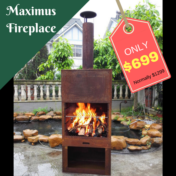 SALE Outdoor Fireplace Free Standing Sturdy Metal Furness Chiminea Flue Cooking Grill & Wood Storage Maximus 70x41x229cm