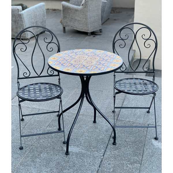 Patio Setting - Mosaic Naples, Metal 3 Piece Outdoor Setting in the garden