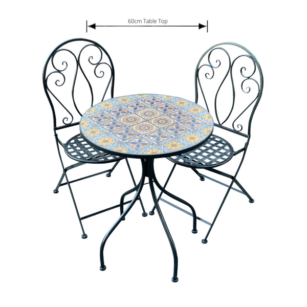 Patio Setting - Mosaic Naples, Metal 3 Piece Outdoor Setting with dimensions