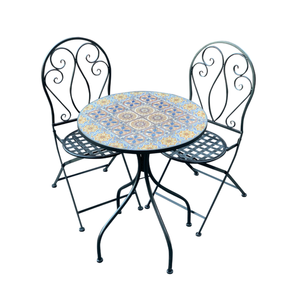 Patio Setting Naples Mosaic Metal 3 Piece Bistro Balcony Garden Furniture Outdoor Home Decor