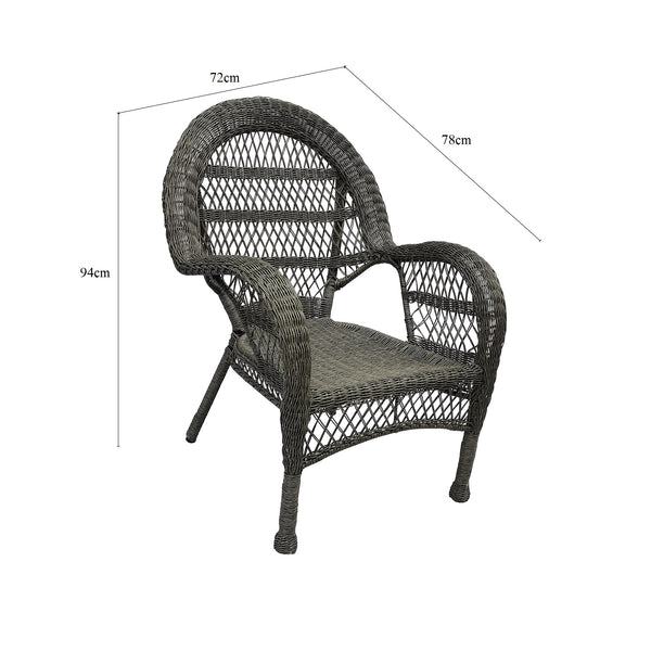 SET 2 Province Poly Wicker Grey Cane Weatherproof Outdoor Chairs