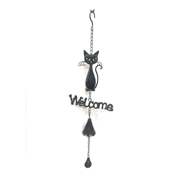 Hanging Metal Bell Welcome Cat