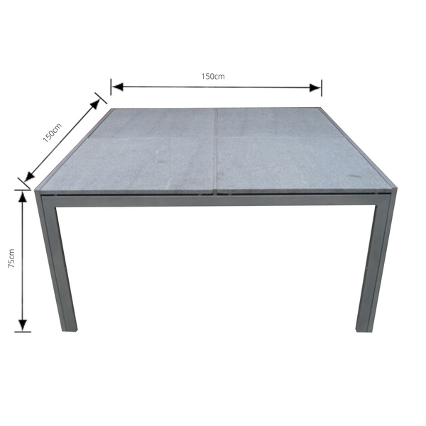1.5m granite table with galvanised metal base with dimensions