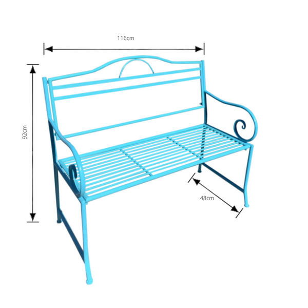 Outdoor garden bench Salsa, Made from metal in Aqua blue colour, includes dimensions