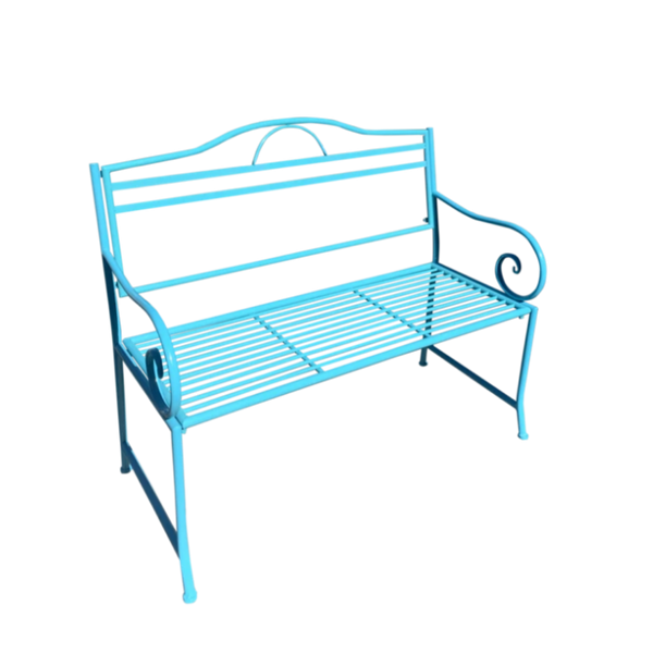 Outdoor Salsa garden bench, Made from metal in Aqua blue colour