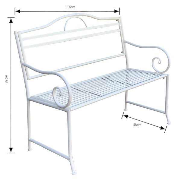 Outdoor garden bench Salsa, Made from metal in cream colour, pictured with dimensions