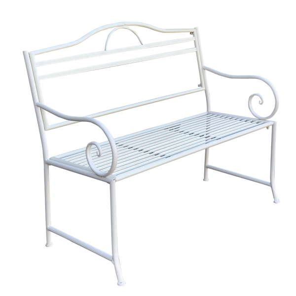 Outdoor garden bench Salsa, Made from metal in cream colour