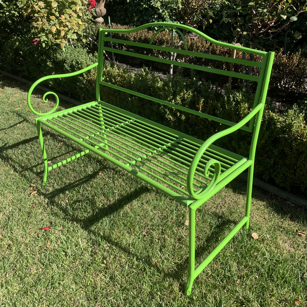 Outdoor garden bench Salsa, Made from metal in lime green colour, pictured in garden
