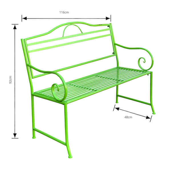 Outdoor garden bench Salsa, Made from metal in lime green  colour with dimensions