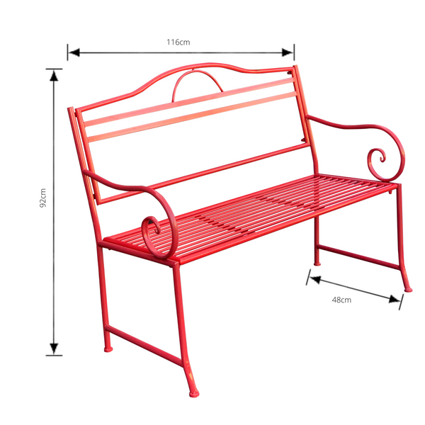 Outdoor garden bench Salsa, Made from metal in tones of red  colour, pictured with dimensions