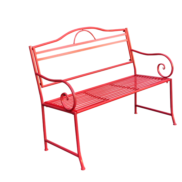 Outdoor garden bench Salsa, Made from metal in tones of red colour