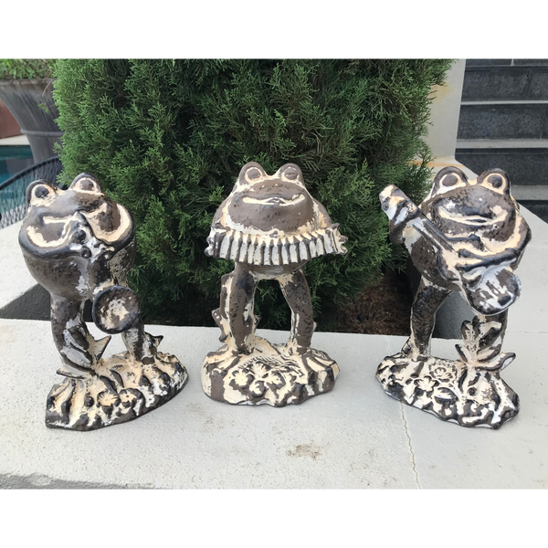 Statue - Frog Playing Guitar in the garden with 2 other frogs playing the accordion and the trumpet