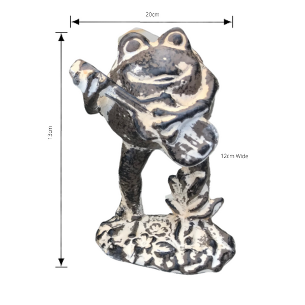Statue - Frog Playing Guitar with dimensions