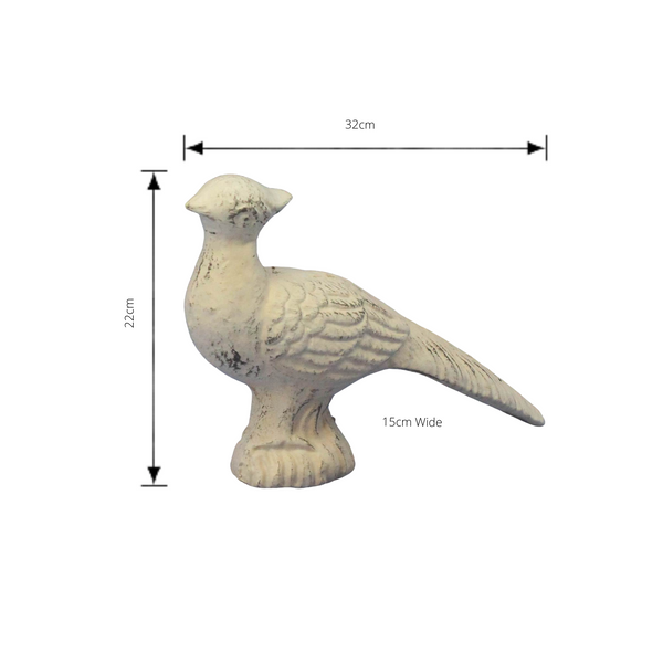 cast iron pheasant with head up antique white finish with dimensions