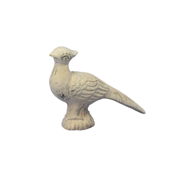 cast iron pheasant with head up antique white finish