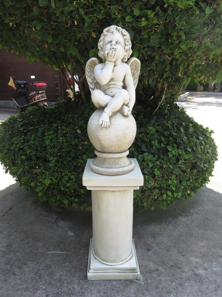 Statue Cherub On  Ball With Pedestal Sculpture Figurine Ornament Feature Garden Decor 31X31X126cm