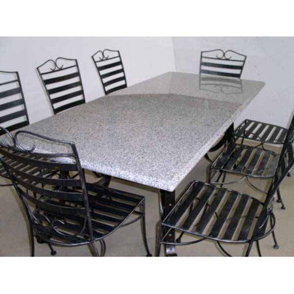 Outdoor Dining setting made from natural stone- Granite, 6 wrought iron chairs and solid iron table base.