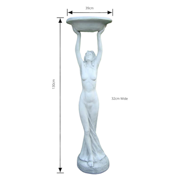 Statue - Lady Bird Feeder Bath - Cream with dimensions
