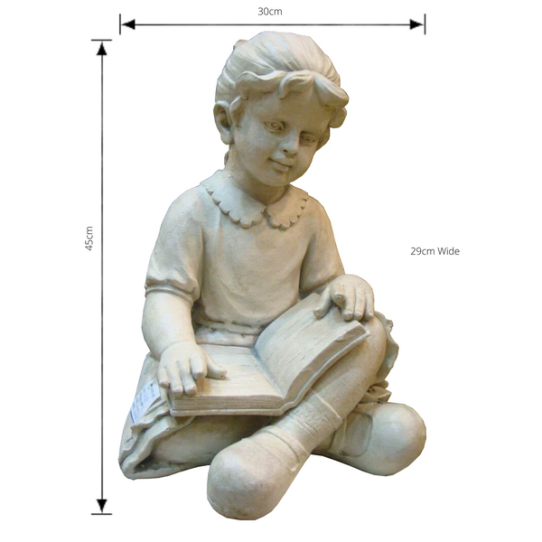 Statue - Girl Reading with dimensions