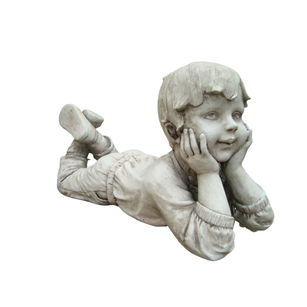 Statue Boy Thinking Sculpture Figurine Ornament Feature Garden Decor  33X14X17cm
