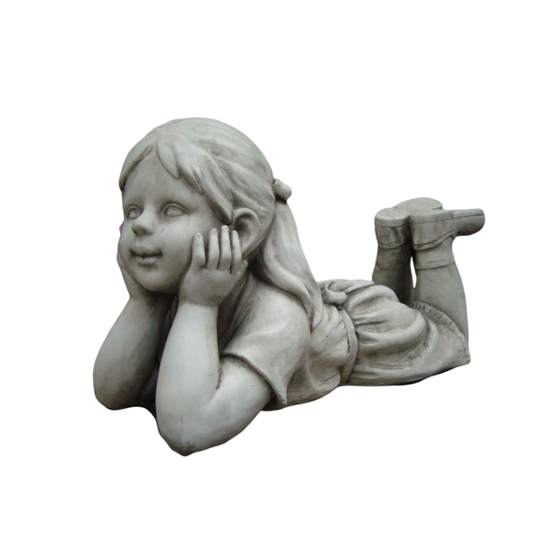 Statue Girl Thinking Sculpture Figurine Ornament Feature Garden Decor 33X14X17cm